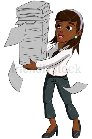 Black business woman paper stack - Image isolated on transparent background. PNG