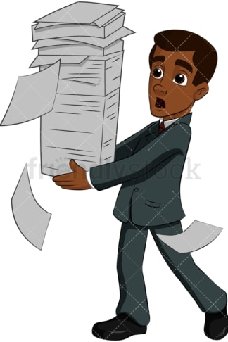 Black man carrying stack of papers - Image isolated on transparent background. PNG