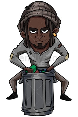 Black man looking for stuff in trash. PNG - JPG and vector EPS file formats (infinitely scalable). Image isolated on transparent background.