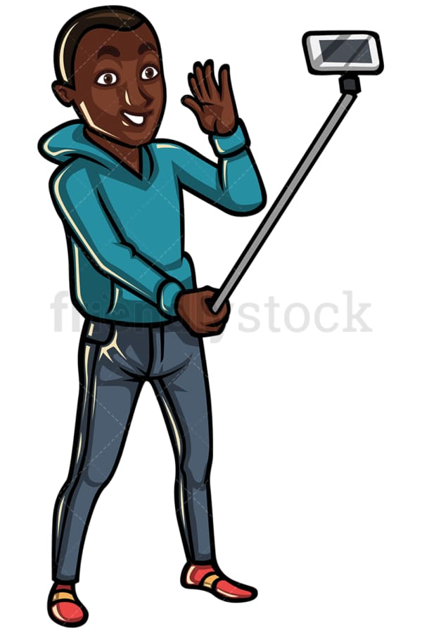 Black man taking photo with selfie stick - Image isolated on white background. Transparent PNG and vector (infinitely scalable) EPS