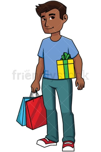 Black man with shopping bags and present - Image isolated on transparent background. PNG