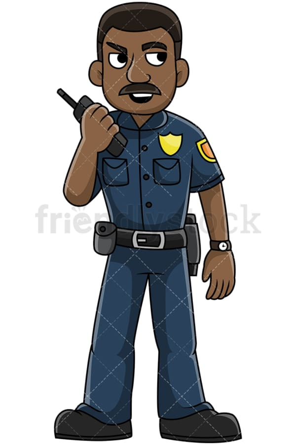 Black police officer talking on radio - Image isolated on transparent background. PNG