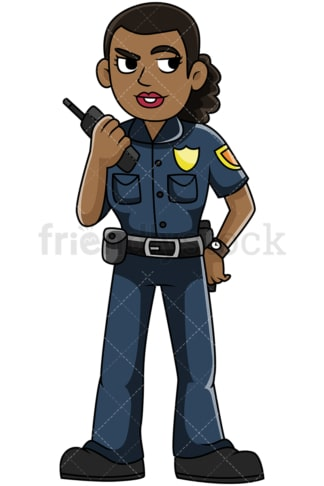 Black policewoman talking on radio - Image isolated on transparent background. PNG