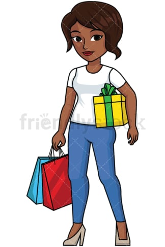 Black woman holding gift wrapped present - Image isolated on transparent background. PNG