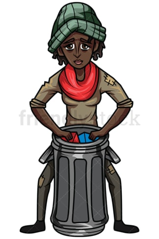 Black woman looking for food in trash. PNG - JPG and vector EPS file formats (infinitely scalable). Image isolated on transparent background.