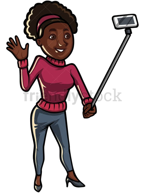 Black woman taking selfie with stick - Image isolated on white background. Transparent PNG and vector (infinitely scalable) EPS
