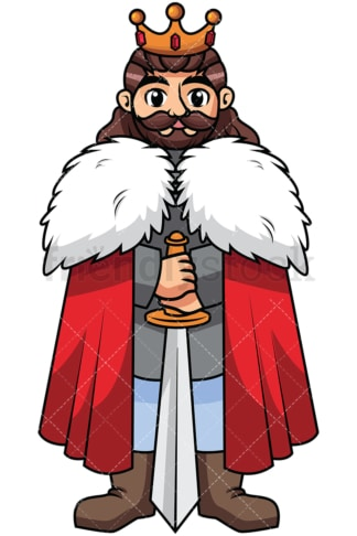 Brave warrior king holding sword - Image isolated on transparent background. PNG