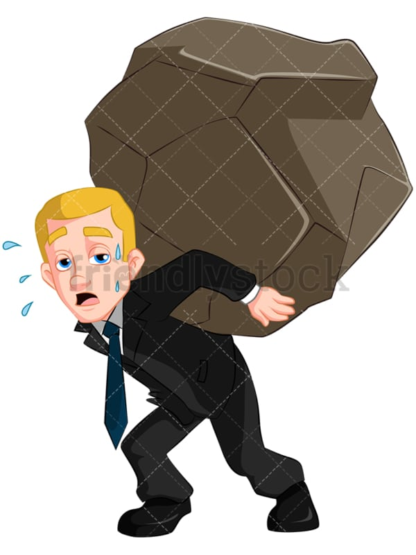 Business man carrying heavy stone - Image isolated on transparent background. PNG