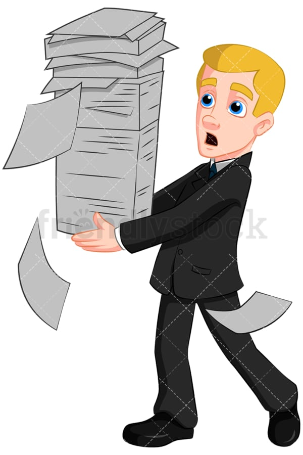 Business man carrying paper stack - Image isolated on transparent background. PNG