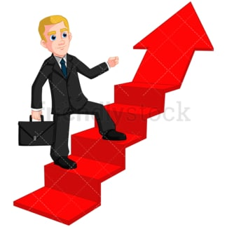 Business man climbing upward arrow - Image isolated on transparent background. PNG