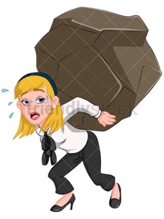 Business woman carrying heavy weight - Image isolated on transparent background. PNG