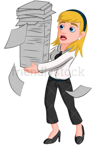 Business woman carrying paperwork - Image isolated on transparent background. PNG