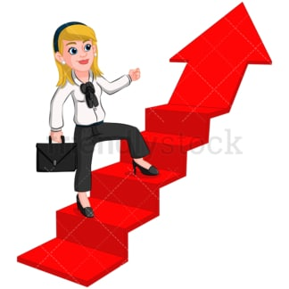 Business woman climbing arrow - Image isolated on transparent background. PNG