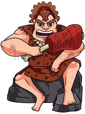 Caveman Eating A Huge Chunk Of Raw Meat - Image isolated on white background. Transparent PNG and vector (infinitely scalable) EPS