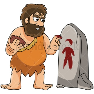 Caveman painting human figure on stone - Image isolated on white background. Transparent PNG and vector (infinitely scalable) EPS