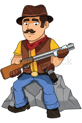 Cowboy cleaning his shotgun - Image isolated on white background. Transparent PNG and vector (infinitely scalable) EPS