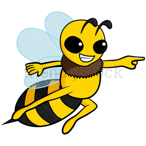 Cute bee pointing to the side - Image isolated on white background. Transparent PNG and vector (infinitely scalable) EPS