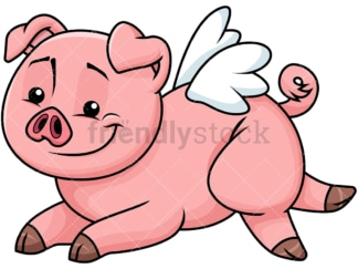 Cute pig with wings like an angel - Image isolated on transparent background. PNG