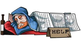Homeless man sleeps under newspapers. PNG - JPG and vector EPS file formats (infinitely scalable). Image isolated on transparent background.