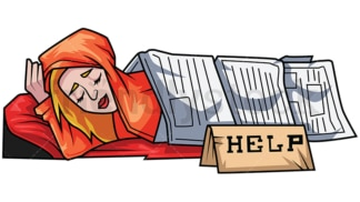 Homeless woman sleeps under newspapers. PNG - JPG and vector EPS file formats (infinitely scalable). Image isolated on transparent background.