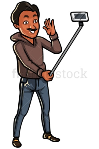 Indian man taking photo with selfie stick - Image isolated on white background. Transparent PNG and vector (infinitely scalable) EPS