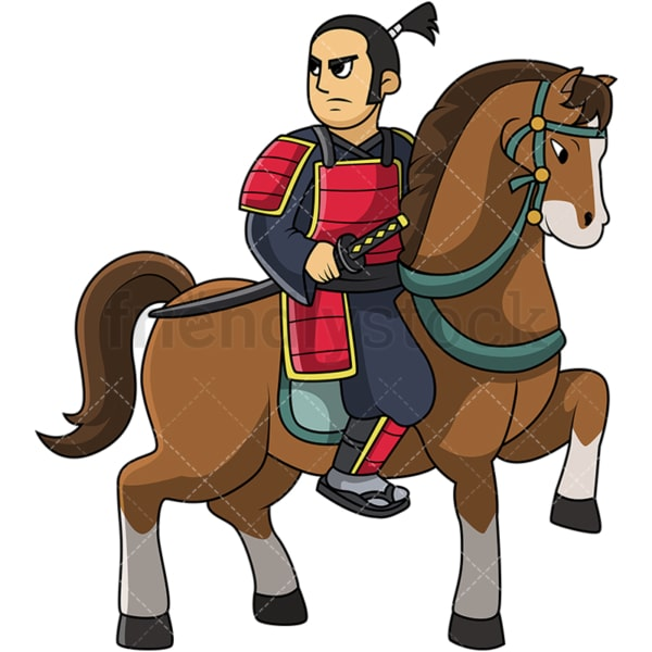 Japanese knight samurai on horse. PNG - JPG and vector EPS file formats (infinitely scalable). Image isolated on transparent background.