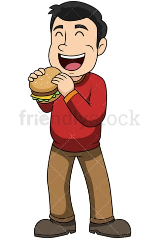 Man eating hamburger - Image isolated on transparent background. PNG
