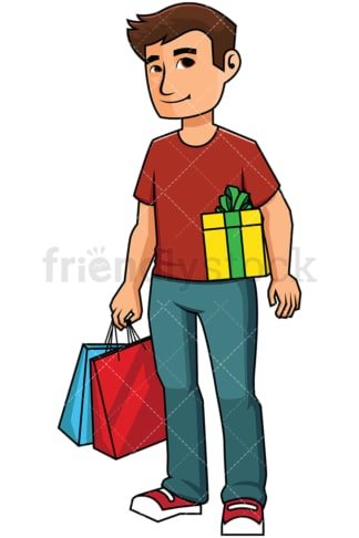 Man holding shopping bags and gift box - Image isolated on transparent background. PNG