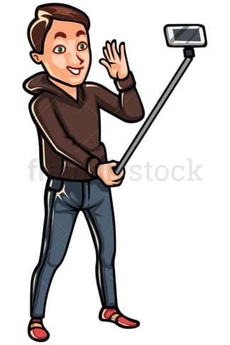 Man taking a photo with a selfie stick - Image isolated on white background. Transparent PNG and vector (infinitely scalable) EPS