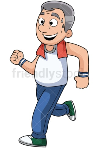 Mature man jogging and sweating - Image isolated on transparent background. PNG