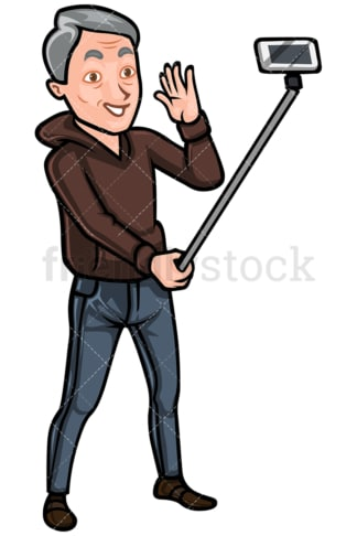 Mature man taking photo with selfie stick - Image isolated on white background. Transparent PNG and vector (infinitely scalable) EPS, PDF.