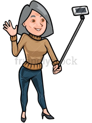 Mature woman taking selfie with stick - Image isolated on white background. Transparent PNG and vector (infinitely scalable) EPS
