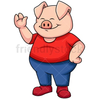 Pig waving hello and smiling - Image isolated on transparent background. PNG