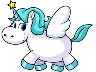 Unicorn with wings and star on horn. PNG - JPG and vector EPS file formats (infinitely scalable). Image isolated on transparent background.