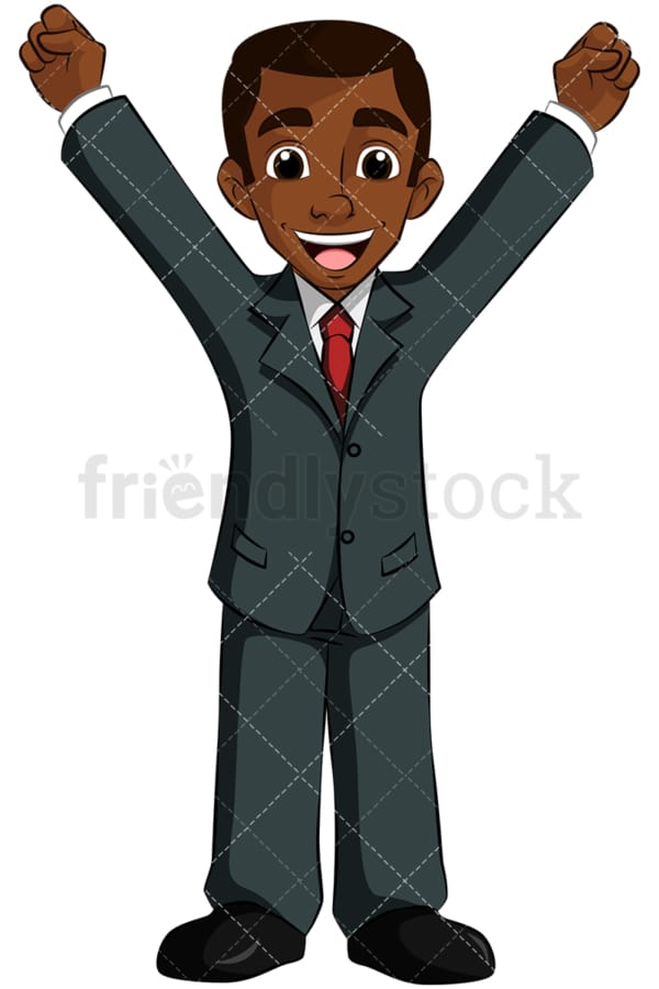 Winning black business man cheering - Image isolated on transparent background. PNG