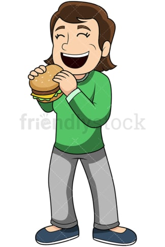 Woman eating hamburger - Image isolated on transparent background. PNG