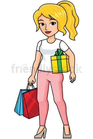 Woman holding shopping bags and a present - Image isolated on transparent background. PNG