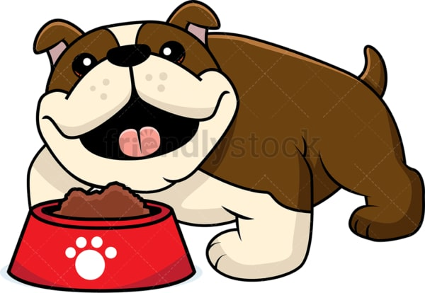 Adorable bulldog with a bowl of dog food. PNG - JPG and vector EPS (infinitely scalable).