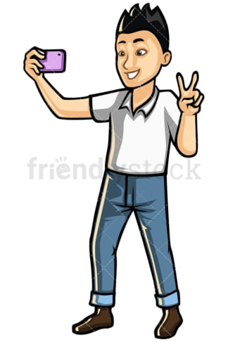 Asian man taking selfie with mobile phone - Image isolated on white background. Transparent PNG and vector (infinitely scalable) EPS