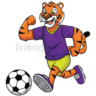 Bengal tiger mascot playing soccer - Image isolated on white background. Transparent PNG and vector (infinitely scalable) EPS
