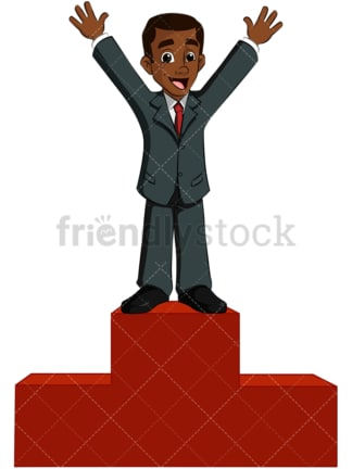 Black business man on winner podium - Image isolated on transparent background. PNG