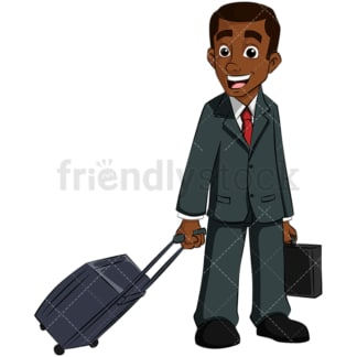 Black business man traveling - Image isolated on transparent background. PNG
