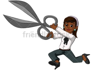 Black business woman holding scissors - Image isolated on transparent background. PNG