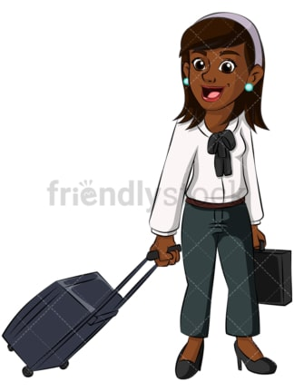 Black business woman traveling - Image isolated on transparent background. PNG