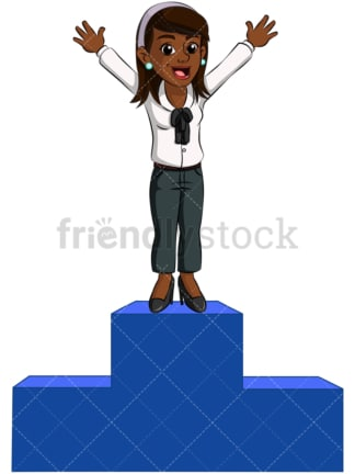 Black business woman winner pedestal - Image isolated on transparent background. PNG