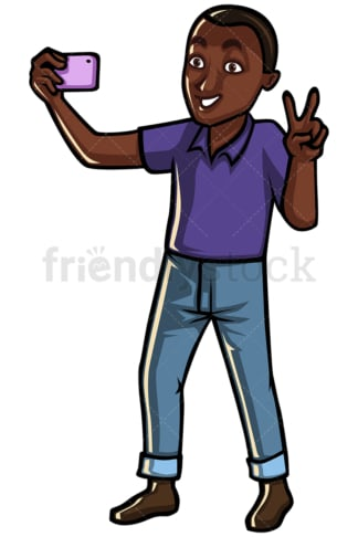 Black man taking selfie with mobile phone - Image isolated on white background. Transparent PNG and vector (infinitely scalable) EPS