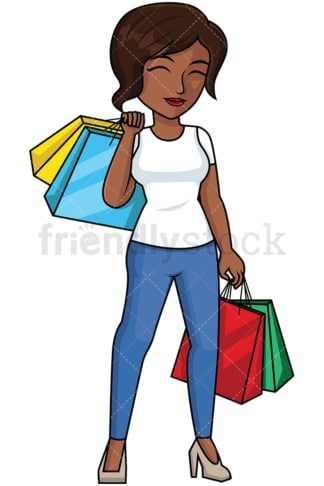 Black woman satisfied after shopping - Image isolated on transparent background. PNG