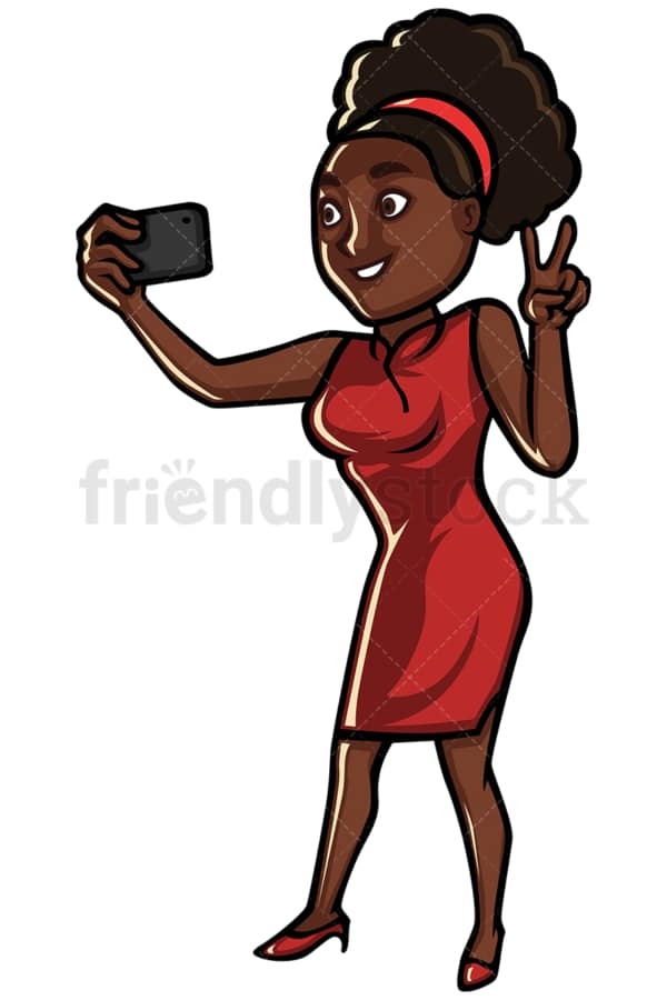 Black woman taking selfie with cellphone - Image isolated on white background. Transparent PNG and vector (infinitely scalable) EPS