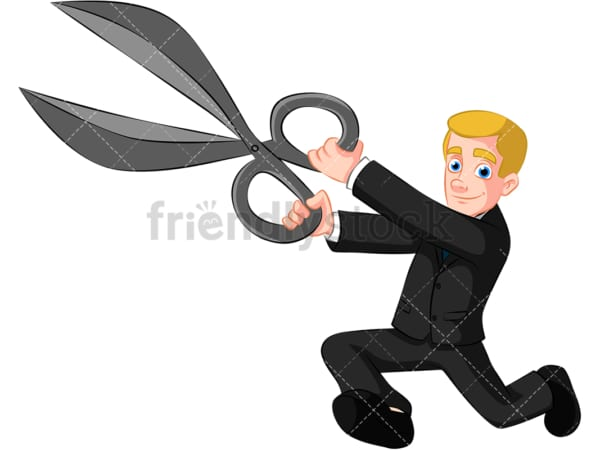 Business man holding scissors - Image isolated on transparent background. PNG