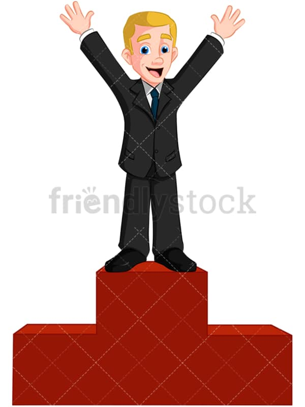 Business man on winner pedestal - Image isolated on transparent background. PNG